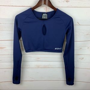 Echt   Navy Blue Cut Out Cropped Long Sleeve Top